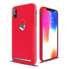 XSUNI Protective TPU Back Case with Card Holder for IPHONE X - Red