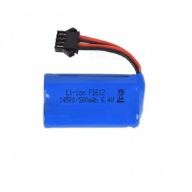 6.4V 500mAh Li-ion Battery, SM-4P 14500*2 Rechargable Battery for Remote Control Car Boat Drone - Blue