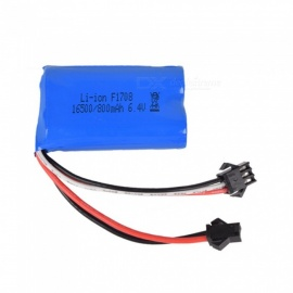 6.4V 800mAh 15C Li-ion Battery, SM-2P 16500*2 Rechargable Battery for Remote Control Car Boat Drone - Blue