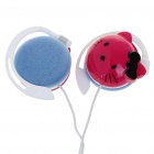 Trendy Hello Kitty Style Ear-Hook Stereo Headset Earphone - Red (3.5mm Jack/120cm-Cable)