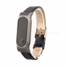 Replacement Business Leather Wristband Strap for Xiaomi Mi Band 2 Watch Bracelet - Black
