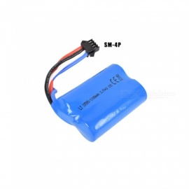 7.4V 1100mAh Li-ion Battery, SM-4P 18500*2 Rechargable Battery for Remote Control Car Boat Drone - Blue