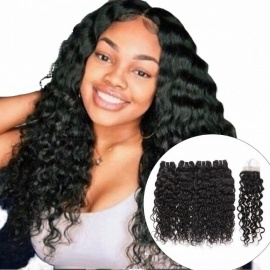 Water Wave Bundles, Indian Hair Weave 4 Bundles With Closure, More Wavy Non Remy Human Hair With Lace Closure 24 24 26 26 closure20/Three Part