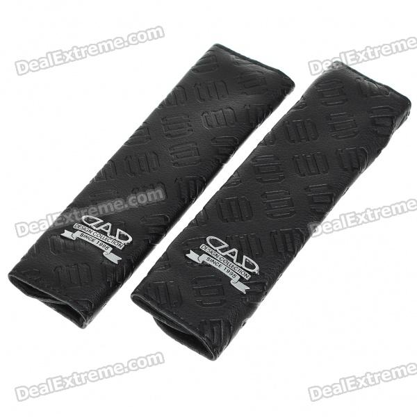 DAD Logo Pattern PU Leather Sheath for Vehicle Safety Seatbelts - Black (Pair)