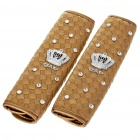DAD Logo & Crown Pattern PU Leather Sheath for Vehicle Safety Seatbelts - Golden (Pair)