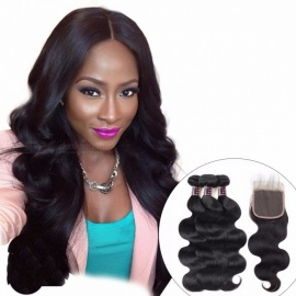 Indian Body Wave 3 Bundles With Closure, 100% Human Hair Bundles Lace Closure With Baby Hair, Non Remy Hair Weave 12 14 16 Closure 10/Middle Part