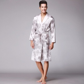 Men\'s Stylish Long Sleeves Bathrobe Pajamas Sleepwear Robe Male Pyjamas Homewear Beige/L