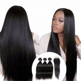 Straight Human Hair 3 Bundles With Closure, Peruvian Hair Weave Bundles Lace Closure With Baby Hair 12 14 16 Closure 10/Middle Part