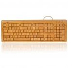 108-Key Compact Slim Wired USB All Bamboo Keyboard (150CM-Cable)