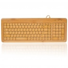 109-Key Compact Slim Wired USB Bamboo Plate Keyboard (150CM-Cable)