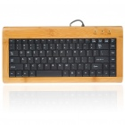 88-Key Compact Slim Wired USB Bamboo Plate Keyboard (150CM-Cable)