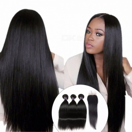 Human Hair 3 Bundles With Closure, Indian Straight Hair Free Middle Three Part Lace Closure W/ Baby Hair, Non Remy Hair 12 14 16 Closure 10/Middle Part