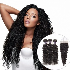 Deep Wave Human Hair Bundles With Closure, Natural Color Brazilian Hair Weave 3 Bundles With Closure 16 18 20 Closure 14/Three Part