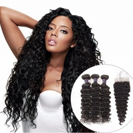 Peruvian Deep Wave 3 Bundles With Lace Closure, Baby Hair 100% Human Hair Bundles With Closure, 4Pcs Non Remy Hair Weave 18 18 18 Closure14/Free Part