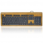 104-Key Compact Slim Wired USB All Bamboo Keyboard (150CM-Cable)