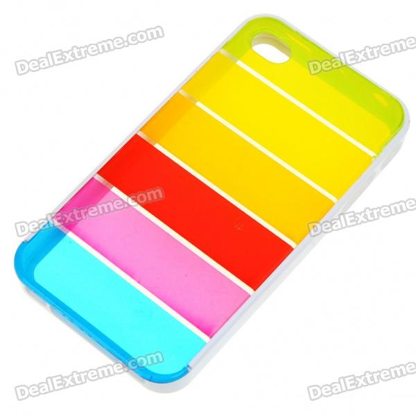 Protective Rainbow Style PC Backside Case with Stylus for Iphone 4 - White