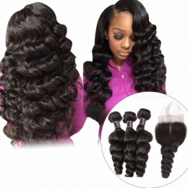 Peruvian Loose Wave Human Hair Bundles With Closure, 4*4 Inch Free Part Closure With Baby Hair, Non Remy Hair Extensions 26 28 28 Closure20/Three Part