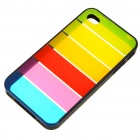 Protective Rainbow Style PC Backside Case with Stylus for iPhone 4 - Black
