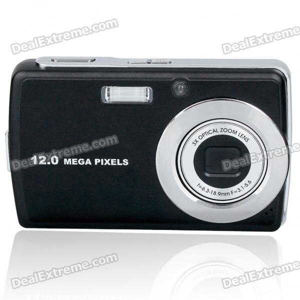 "12.0MP CCD Compact Digital Video Camera w/ 3X Optical Zoom/SD Slot/TV-OUT (3.0"" TFT LCD)"