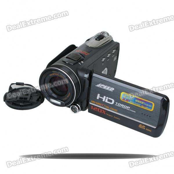 5.0MP 1080P HD Digital Video Camcorder w/ 12X Optical Zoom/HDMI/TV-Out/Dual-SD (3.5 Touch LCD) 5 0mp digital video camcorder w 4x digital zoom motion detection hdmi sd slot 2 5 tft lcd