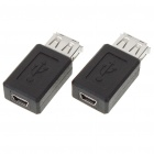 USB A Female to Mini USB 5-Pin Female Adapter Converter (2-Piece)