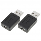 USB A Male to Mini USB B 5-Pin Female Adapter Converter (2-Piece)