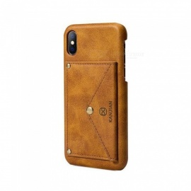 Creative PU Leather Case Cover For IPHONE X With Card Holder + Stand Function Phone Cases Back Cover Shell Light Brown/Leather