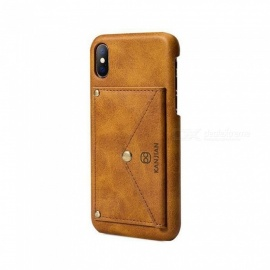 Creative PU Leather Case Cover For IPHONE X With Card Holder + Stand Function Phone Cases Back Cover Shell Black/Leather