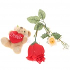 Cute Heart Bear Doll + Novelty Rose with Hidden Sexy Panty Panties