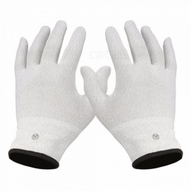 1 Pair Massage Relaxation Conductive Electrotherapy Electrode Gloves Shock Wire Machine Therapy Hand Massager Glove White