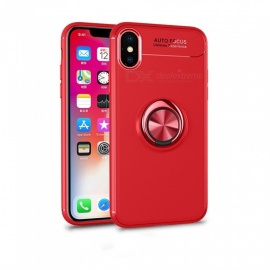 Luxury Car Bracket 360 Degree Rotated Ring Magnetic TPU Protective Back Cover Case For IPHONE X, Cell Phone Case Shell Red/PC
