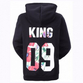 King 09 Letter Print Couple Lovers Hoodies Pullovers Casual Mens Sweatshirts Tracksuit-Men Black/M