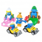 Cute Smurfs with Cars Anime Figures (5-Piece Set)