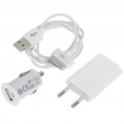 AC/Car Power Adapters + USB Data/Charging Cable for iPhone 4/3GS - White (100~240V/EU Plug)