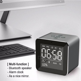 High Quality Mini Desktop Bluetooth Speaker Portable Wireless With Alarm Clock, Microphone, Support TF Card For Phone Blue/Speaker