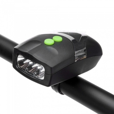 3 LED Bicycle Light Front Head Light Cycling Lamp Bike Light With Bicycle Warning Bell Black