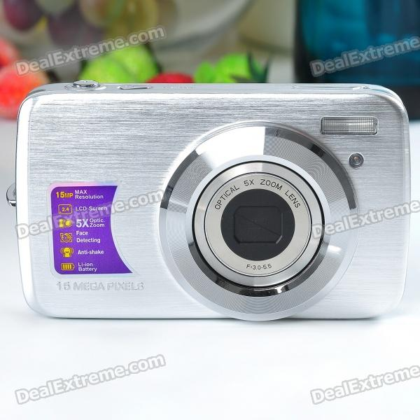 "8.0MP CCD Compact Digital Video Camera w/ 5X Optical Zoom/SD Slot - Silver (2.4"" TFT LCD)"