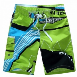 Mens Ocean Beach Print Swim Shorts Short Pants Size M~6XL, Quick-Drying Summer Surf Board Loose Beach Shorts Green/M