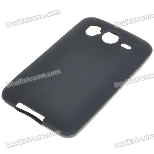 Protective PVC Backside Case w/ Screen Guards + Cleaning Cloth + Stylus for HTC Desire HD - Black