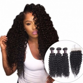 Malaysian Kinky Curly Hair 3 Bundles With Closure, Baby Hair Free Part 4Pcs/Lot Human Hair Bundles With Closure 12 14 16 Closure 10/Middle Part