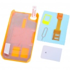 Unique Back Case + Sim Card Converter + Card Eject Pin + Screen Guard Full Set for Iphone 4 - Orange