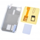 Unique Back Case + Sim Card Converter + Card Eject Pin + Screen Guard Full Set for Iphone 4 - White