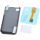 Unique Back Case + Sim Card Converter + Card Eject Pin + Screen Guard Full Set for Iphone 4 - Black