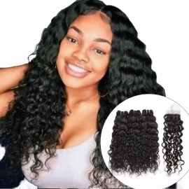 Malaysian Water Wave 3 Bundles With Closure, 100% Human Hair Weave Bundles With Closure, Non Remy Hair Extensions 12 14 16 Closure 10/Middle Part
