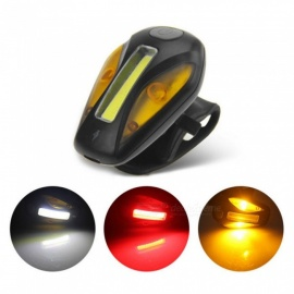 Bicycle LED Bike Front Light Taillight USB Charging Ultra-light Bike Warning Night Light Black