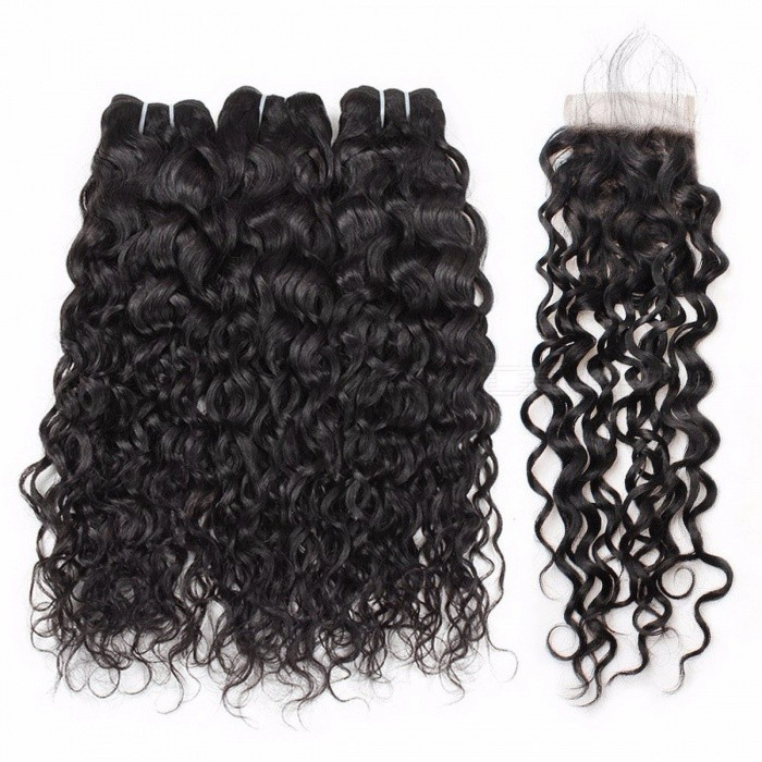 Water Wave Bundles Indian Hair Weave 3 Bundles With Closure More