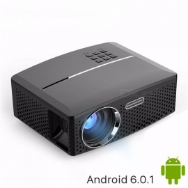 LED Projector GP80 / UP 1800 Lumens Portable  Android 6.0.1 WIFI Bluetooth Simple Beamer Support Full HD 1080P black