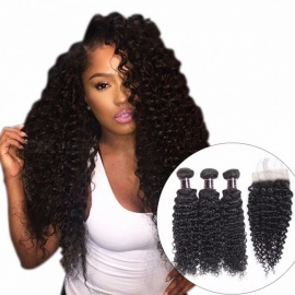 Indian Curly Lace Closure, 100% Human Hair 3 Bundles With Closure, 4*4 Free Part Natural Color Non Remy Hair Weaves 18 20 22 Closure 16/Three Part