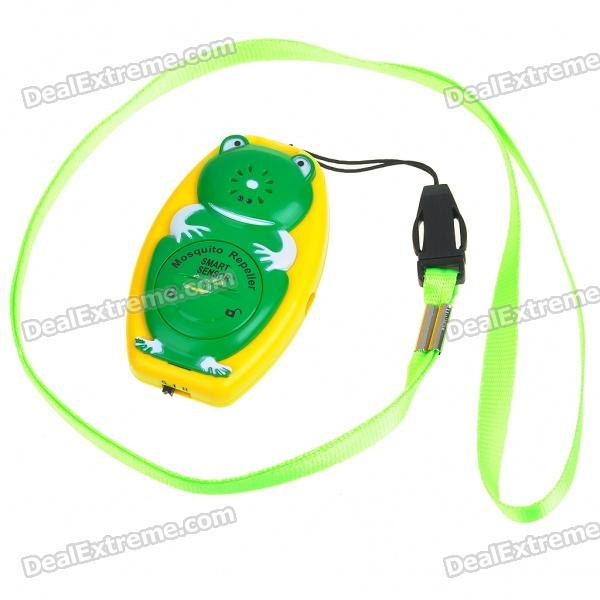 Frog Shaped Ultrasonic Mosquito Repeller with Neck Loop & Hand Strap - Yellow + Green (1*CR2032) ao 149 portable plastic ultrasonic wave mosquito repeller black