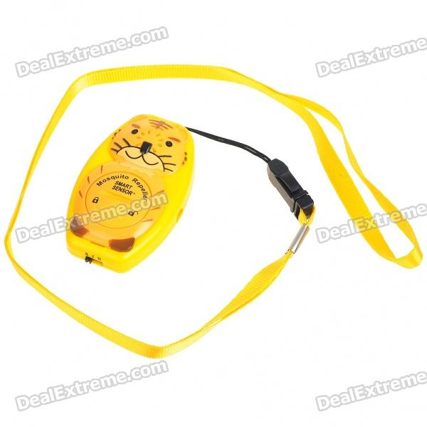 Tiger Shaped Ultrasonic Mosquito Repeller with Neck Loop & Hand Strap - Yellow + Orange (1*CR2032) ao 149 portable plastic ultrasonic wave mosquito repeller black